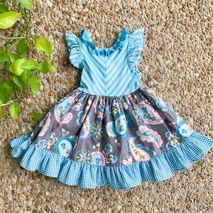 Boutique Paisley Checker Ruffle Stripe Baby Dress